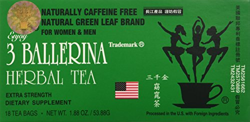 - 3 Ballerina Diet Tea Extra Strength for Men and Women (6 Boxes x 18 Bags)