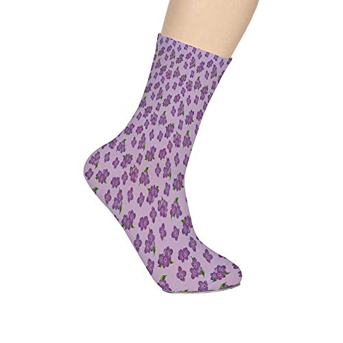 TecBillion Mauve Decor Soft Mid Calf Length Socks,Kitsch Botany Flower Field Patter with Perennial Florets Design Socks for Men Women