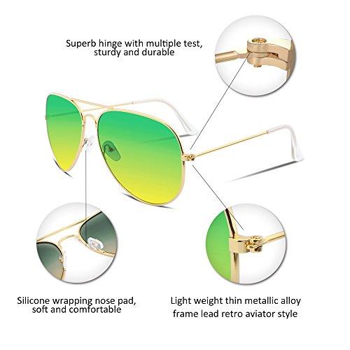 FEISEDY Retro Aviator Sunglasses Gradient Lens Men Women Brand Sunglasses B1100 2 Green-yellow