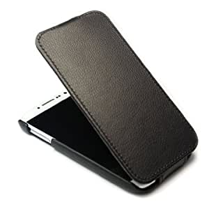 Bloutina Litchi Leather Flip Skin Case Cover for Samsung Galaxy S S4 IV i9500 Black + 1 gift