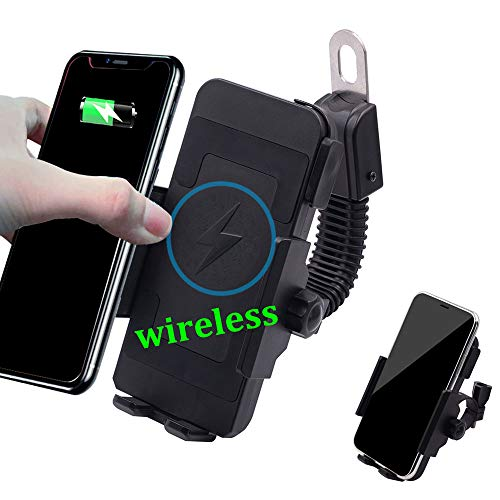 (Wireless Motorcycle Phone Charger,ONGHSD Motorcycle Cell Phone Holder with Charger,10W for Samsung Galaxy S10/S10+/S10E/S9/S9+/S8/S8+,5W for iPhone XR/Xs Max/XS/X/8/8 Plus and More (Without USB Port))