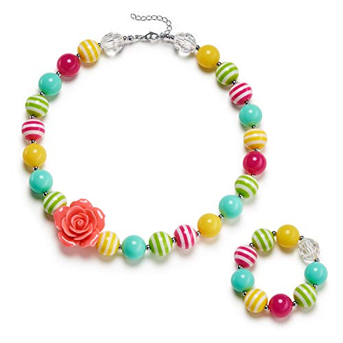 vcmart Girls Necklace and Bracelet Set Chunky Bubblegum Beads Girls' Jewelry with Gift Box
