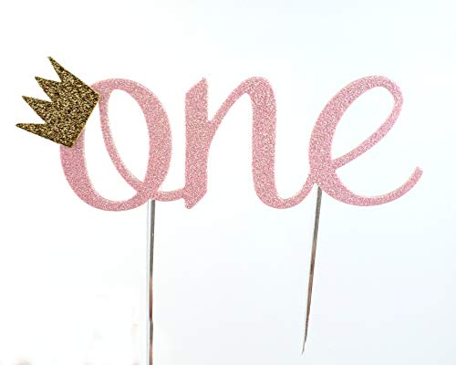 CMS Design Studio Handmade 1st Birthday Cake Topper Decoration - One with Crown - Double Sided Glitter Stock (Pink)