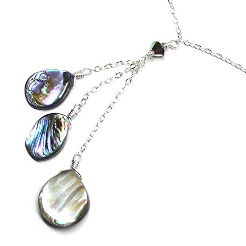 (Three Abalone Teardrops Dainty Y-Chain Necklace Sterling Silver 18 Inches)