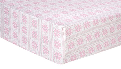 Trend Lab 100% Cotton Fair Isle Deluxe Flannel Fitted Crib Sheet, Pink