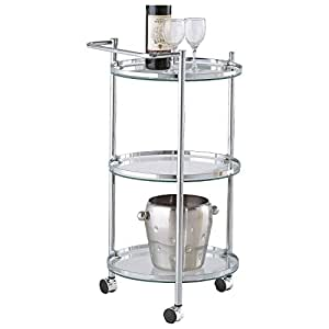 amazon com clear tempered glass round sleek chrome amazon com round gold metal bar cart serving carts