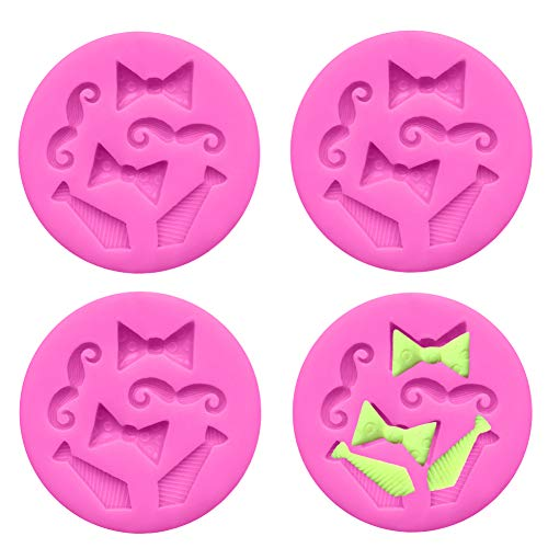 Luckycivia 4 PACK Bow Ties Beard Mini Silicone, Candy Chocolate Fondant Mold, Silicone Cake Mould]()