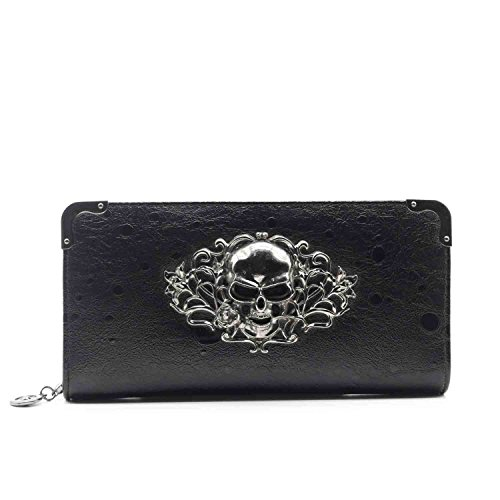 ZENTEII Women Faux Synthetic Leather Skull Wallet Clutch (Leather Clutch Wallet Synthetic)
