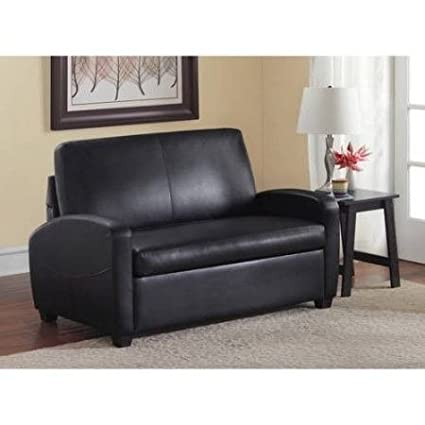 Amazon.com: Sofa Bed Couches Sleeper Sofas-Black Leather Upholstered ...