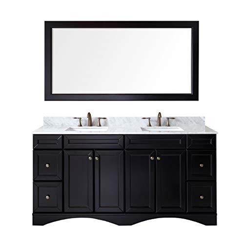 Featuring Designer Vanity - Virtu USA Talisa 72 inch Double Sink Bathroom Vanity Set in Espresso w/Square Undermount Sink, Italian Carrara White Marble Countertop, No Faucet, 1 Mirror - ED-25072-WMSQ-ES