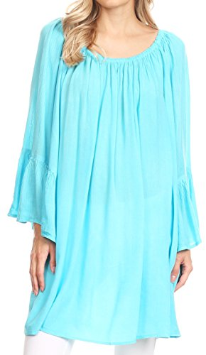 Sakkas 2365 - Anna Casual Flowy Wide Neck 3/4 Sleeve Light Summer Boho Blouse Top - Turquoise - OS