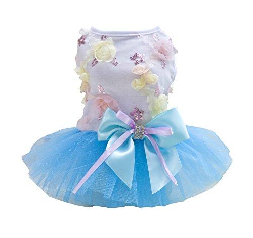 Rdc Pet Dog Dress Puppy Dog Princess Dresses,Tutu Flower and Sequin Dot Wedding Lace Dress Luxury Bow Dress for Small Dog Girl (L, BLUE)