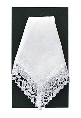- Thomas Ferguson Irish Linen - Ladies Wide Edge Lace Handkerchief, BH455, White