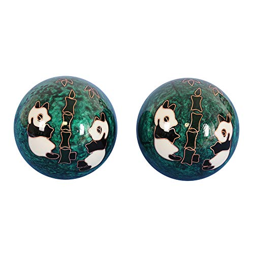 - FULONNGCO Baoding Balls.Hollow and Chimes.Chinese Health Stress Relief Massage Balls.Folk Art for Gift (Green Panda)