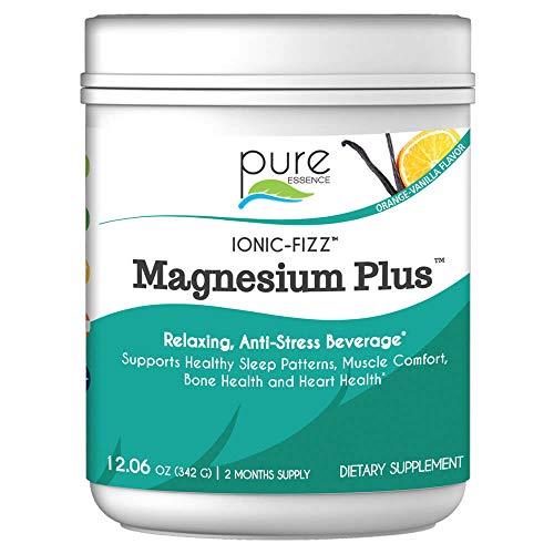 Pure Essence Labs Ionic Fizz Magnesium Plus - Calm Sleep Aid and Natural Anti Stress Supplement Powder - Orange Vanilla - 12.06oz