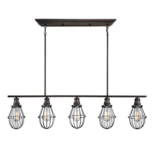 Langdon Mills 10406 Henderson 5-Light Linear Island Chandelier, Burnished Bronze
