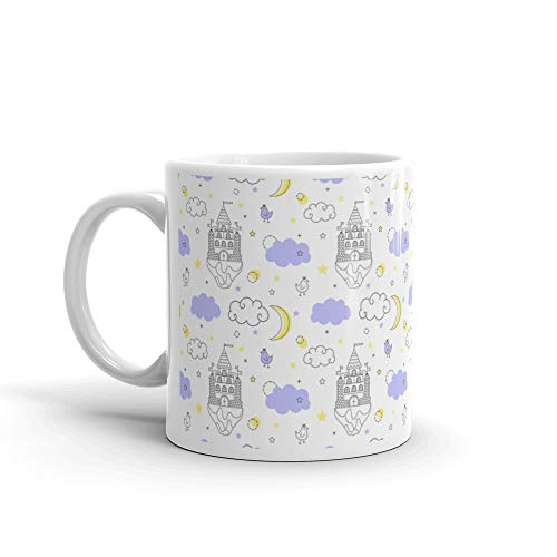 Seamless Pattern In Style Of A Fantasy Flying Castle The Clouds Snake Milk Mug Cups Ceramic 11 Oz