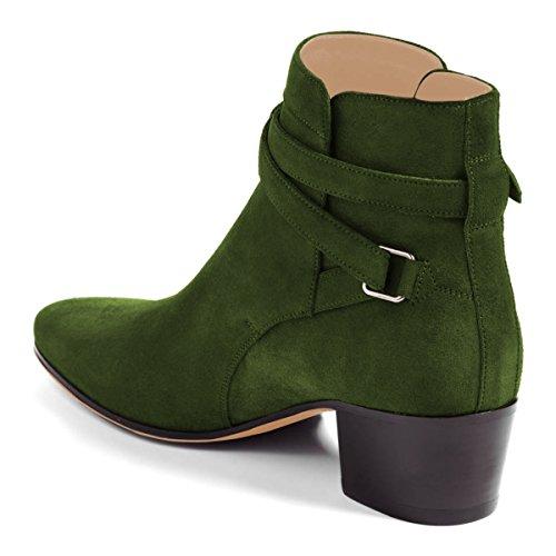 Fsj Femmes Bout Fermé Bloc Mi-talon Cheville Bottes À Boucle Faux Daim Chaussures De Marche Confortables Taille 4-15 Us Vert Olive