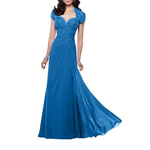 A Ballkleider Kurzarm Spitze Charmant Damen Blau Neu Chiffon Abendkleider Partykleider Glamour Lang Linie rqcXHcz