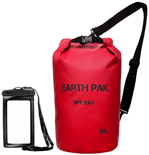 Earth Pak -Waterproof Dry Bag - Roll Top Dry Compression Sack Keeps Gear Dry for Kayaking, Beach, Rafting, Boating, Hiking, Camping and Fishing with Waterproof Phone Case (Large Dry Sack)