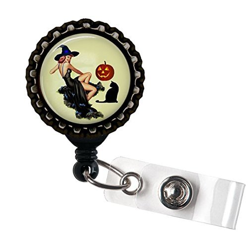 Pinup Black Cat Witch Name Badge Holder Retractable Reel Bottle cap -