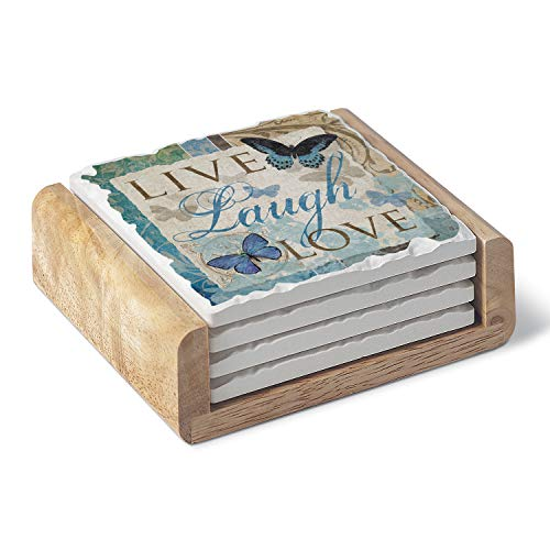 CounterArt Absorbent Stone Coaster Set - Live Laugh Love Butterfly with Wooden ()