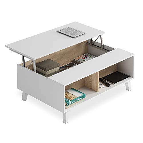 Habitdesign 0F6633BO - Mesa de Centro elevable Comedor salon, Color Blanco Brillo y Roble Canadian, Medidas: 100x38/48x68 cm de Fondo