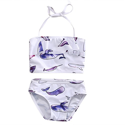 Baby Girl Toddler Dolphin Print Swimsuit Halter 2Pieces Swimwear Sets 4-5T (120(4-5T), White) (Dolphin Girl Swim Suit)