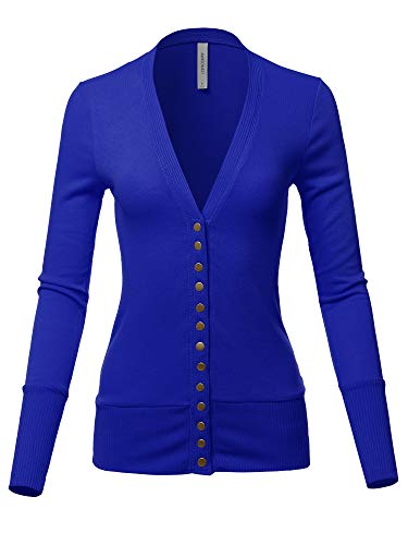 Causal Button Long Sleeves Everyday Cardigan Royal XL - Ladies Royal Blue Snap