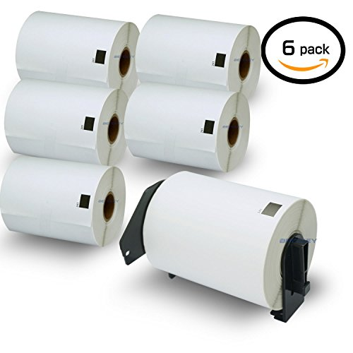 """UPC 708747458459, 6 Rolls Brother-Compatible DK-1241 101mm x 152mm(4"""" x 6"""") Shipping Labels,200 Labels Per Roll With One Refillable Cartridge"""