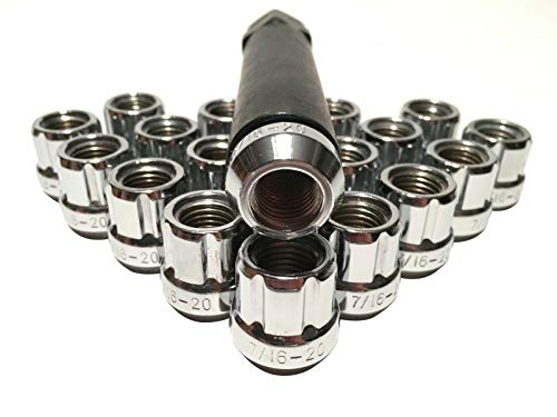 Coyote - 20 Chrome Lug Wheel Lock Nuts 7/16 Chevrolet Pontiac Oldsmobile + 6 Spline - Lock Hubcap