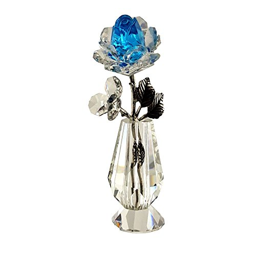 Crystal Florida Crystal Milano Light Blue Rose in - Vase Milano Glass