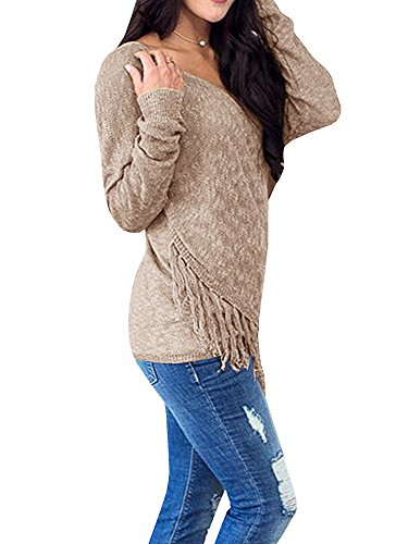 Womens Sweaters Long Wrap V Neck Off The Shoulder Fringe Knit Pullover Sweater Tunic Tops by Farktop (Image #1)