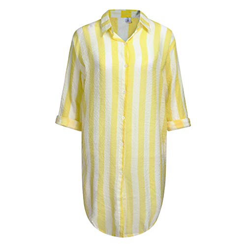 VLDO Summer Sexy Women Long Sleeve Striped Chiffon Cardigan Tops Cover Up Blouse Yellow -
