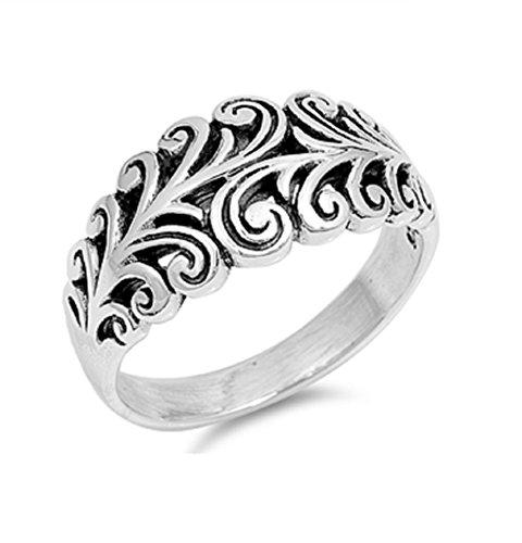 Filigree Design Ring - 925 Sterling Silver Vine Filigree Design Ring Size 6