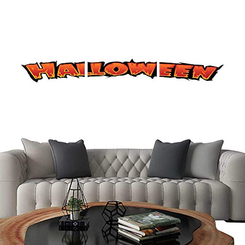 UHOO Pictures Paintings on Canvas WallHappy Halloween Text Banner with bat Silhouette Vector Elements for Your Poster and Greeting Card. Brick Wall Stickers -