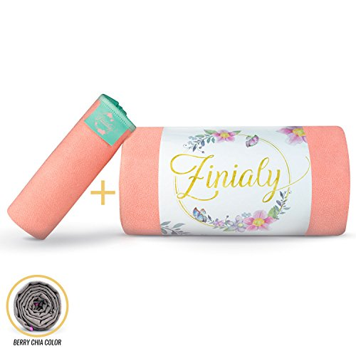 Yoga Towels Set, Microfiber Large Mat Towel and Small Hand Towel, Ultra Absorbent and Fast Drying, Best Towel for Bikram Yoga, Gym, Pilates, Beach, Travel (Minty Peach) ()
