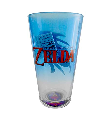 JUST FUNKY Legend of Zelda Pint Glass, Frosted Blue, Officially Licensed 16-Ounce
