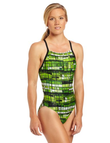 adidas Swim Women's Stained Glass Vortex Back Swimsuit, Green, 22