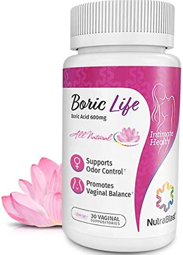 NutraBlast Boric Acid Vaginal Suppositories – 30 Count, 600mg – 100% Pure Made in USA – Boric Life Intimate Health Support
