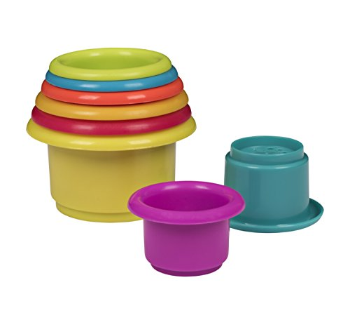 Playkidz: Rainbow Stacking & Nesting Cups Baby Building Set. 8 Pieces. With Embossed Animal Characters. For Indoor, Outdoor, Bathtub, And Beach Fun Toy. Multi Colors