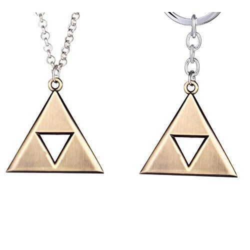 2 Piece Set: Zelda Triforce Keychain and Zelda Triforce Necklace (Phone Charm Zelda)