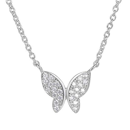 Yves Renaud 0.5 Inch Crystal Butterfly Necklace on a 18 Inch Silver Tone Chain - Hypoallergenic Fashion Jewelry for Women, Girls, Teens