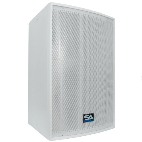 Seismic Audio ARCTIC-15-PW Powered 2-Way 15-Inch PA/DJ White Speaker Cabinet with Titanium Horn