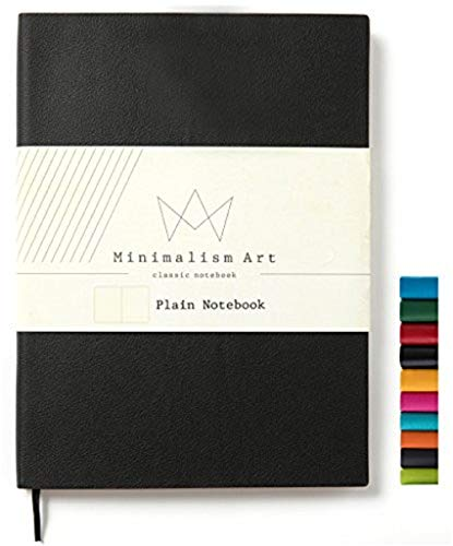 Minimalism Art | Soft Cover Notebook Journal, Size: 7.6 X 10; B5, Black, Plain/Blank Page, 192 Pages, Fine PU Leather, Premium Thick Paper - 100gsm | Designed in San Francisco