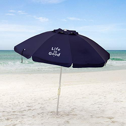Life is Good ALIGUMB-N-1PK Beach Umbrella with Sand Anchor, Towel Hook, and Tilting Pole, Solid Navy