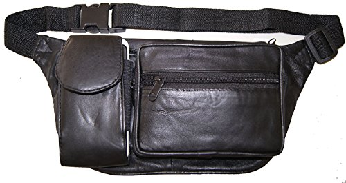 Lambskin Pouch Black (AG Wallets Cell Phone Pouch Fanny Pack Waist Bag Pouch)