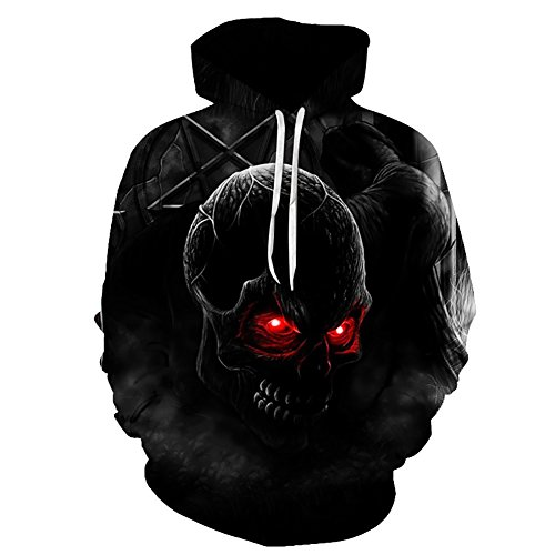 EKOO Skull Printed Hoodie Unisex Sweatshirts Boy Pullover Fashion Tracksuits Animal Cool Design Streetwear Clothes (5XL) by EKOO