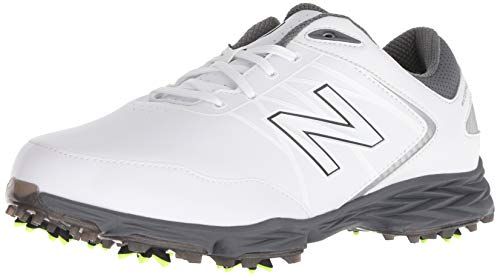New Balance Men's Striker Waterproof Spiked Comfort Golf Shoe, White/Grey, 10 D D US