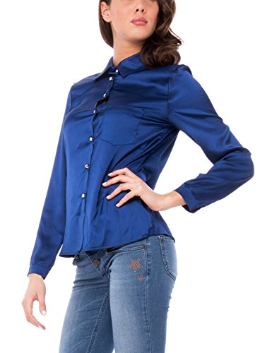 Chemisier Isabella Lunga Chiusura Manica E Bleu Roma Taschino Con Bottoncini Camicia Femme wqOgBzw